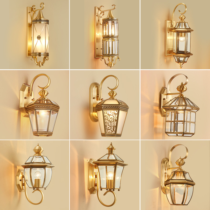 European Outdoor Wall Lamp Brass Waterproof American Balcony Corridor Courtyard Outdoor Villa Door External Wall Gold Wall Light