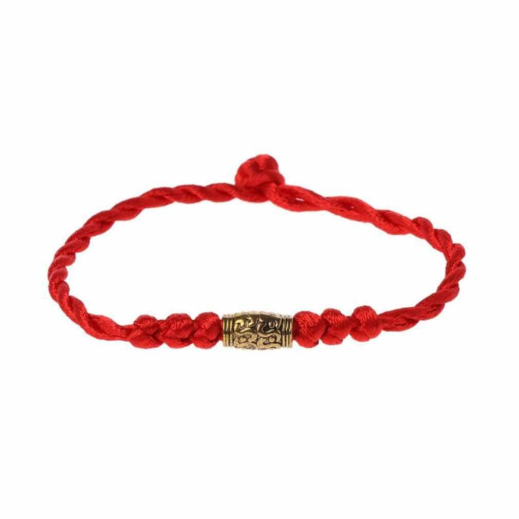 伝統的なチベットシルバー赤糸ラッキーブレスレットストリングお守りカップルのブレスレットの宝石女性のための男性を着て