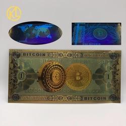 1 шт Биткоин банкноты Красочные Позолоченные один Биткоин пластиковые сувенирные банкноты для сбора и подарков