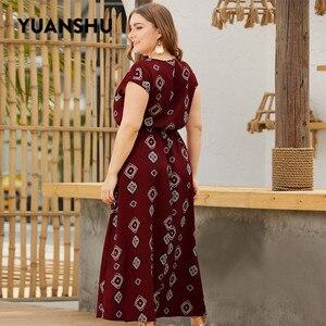Image 3 - YUANSHU XL 4XL حجم كبير البوهيمي طباعة فستان طويل المرأة س الرقبة عالية الخصر المتضخم فستان حفلة عيد فستان حجم كبير