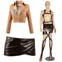 DM Attack on Titan Cosplay Cosfans Shingeki no Kyojin Mikasa Ackerman Cosplay Costume Shawl Belt Suit Leather Shorts Full Sets цены