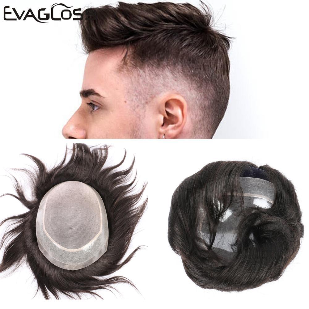 EVAGLOSS Fine Mono Top PU Around Natural Human Hair Men Hair Wig Toupee