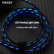 8 Pin Micro USB Type C Cable LED Glow Flowing Data Charging Mobile Phone Charger For iPhone Samsung Lighting Luminous Wire