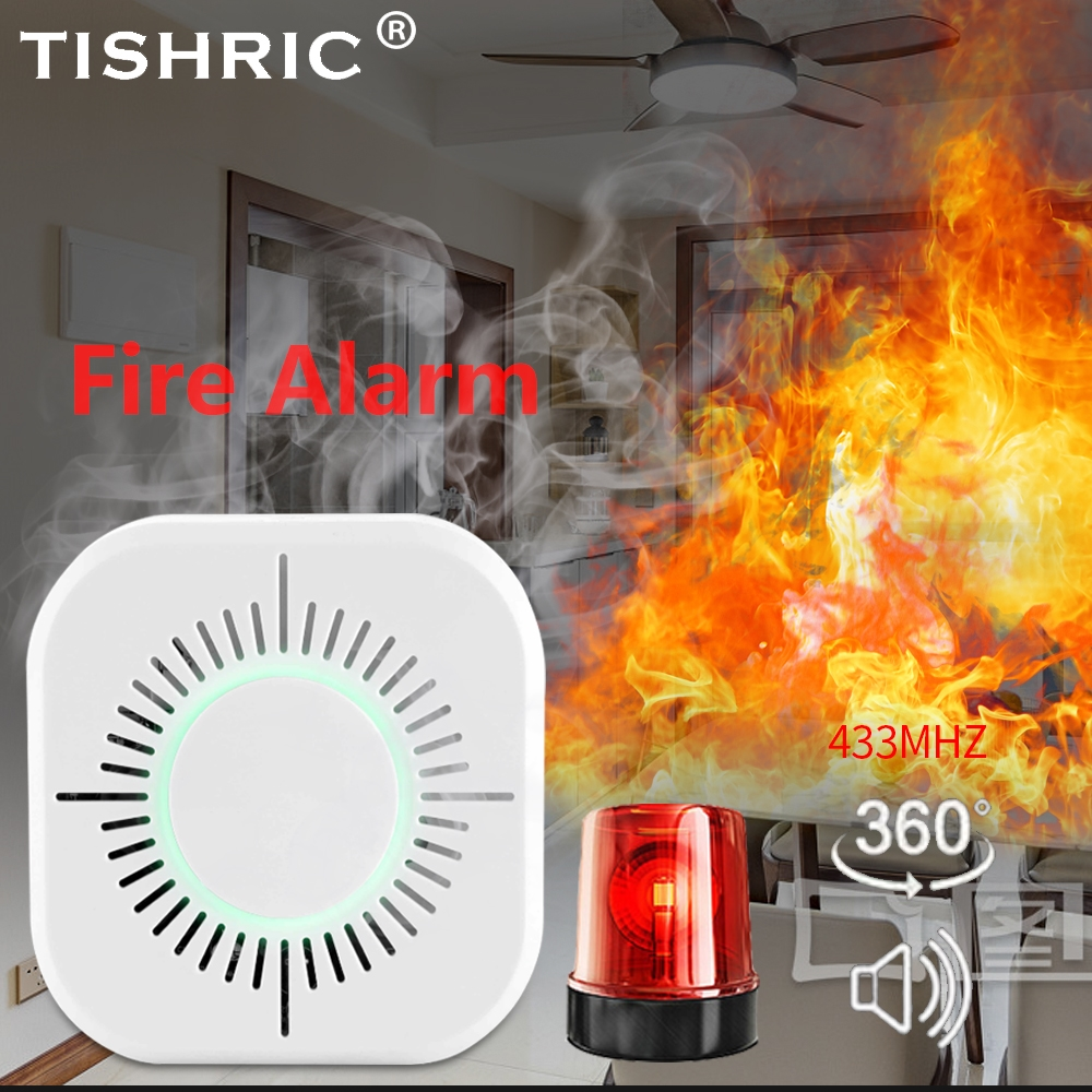 TISHRIC Wireless Wifi Smart Smoke Detector Fire Alarm Sensor 433mhz Fire Equipment Home Security Alarm Systems Smoke Detector