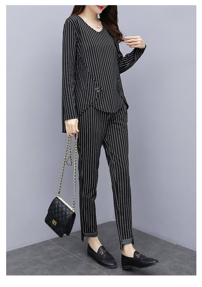 L-5xl Plus Size Striped Two Piece Sets Outfits Women Long Sleeve Tops And Pants Suits Casual Office Elegant Korean Matching Sets 30