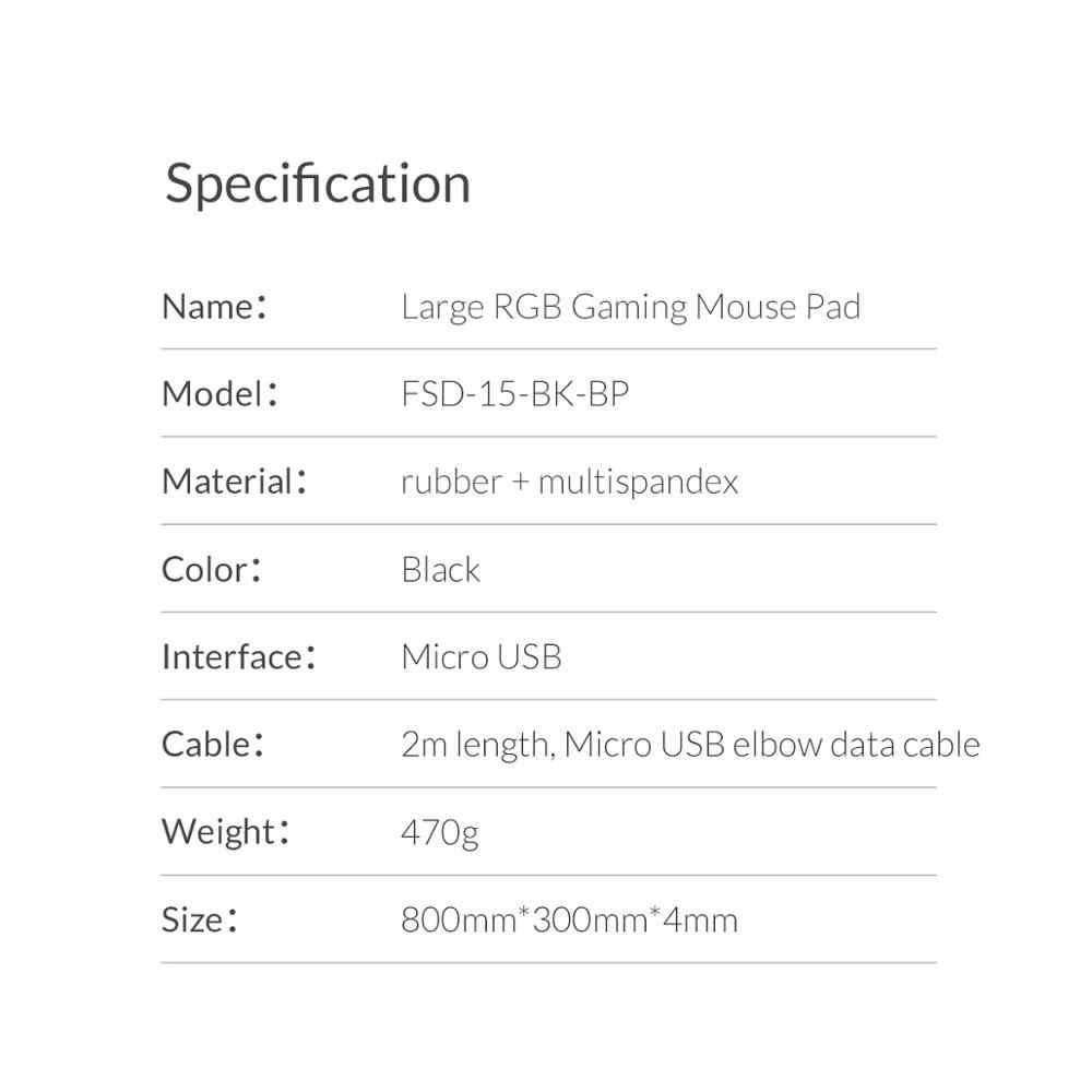 ORICO большой светодиодный RGB игровой коврик для мыши 2 м локоть USB кабель для передачи данных коврик для мыши геймерский компьютерный коврик для клавиатуры коврик для Overwatch Pubg Dota 2