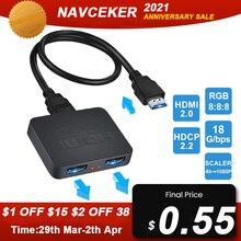 Splitter HDMI Navceker 1x2 1080P 4K Splitter HDMI 1 in 2 out 2 porte amplificatore HDMI Splitter cavo HDMI 2.0 per HDTV PS4 PS5 Xbox