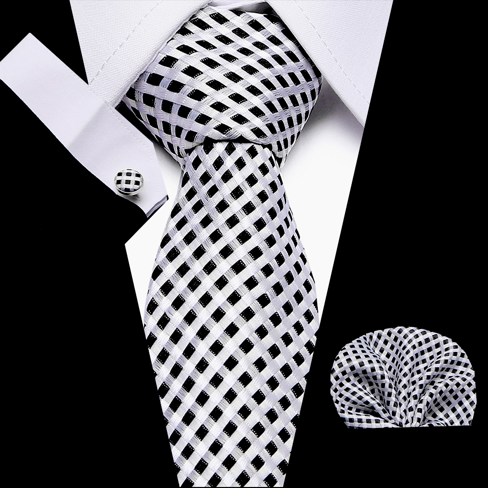 Luxury Men`s Tie 100% Silk Plaid Print Jacquard Woven Tie+Hanky + Cufflinks Sets For Formal Dress Wedding Business Party Necktie