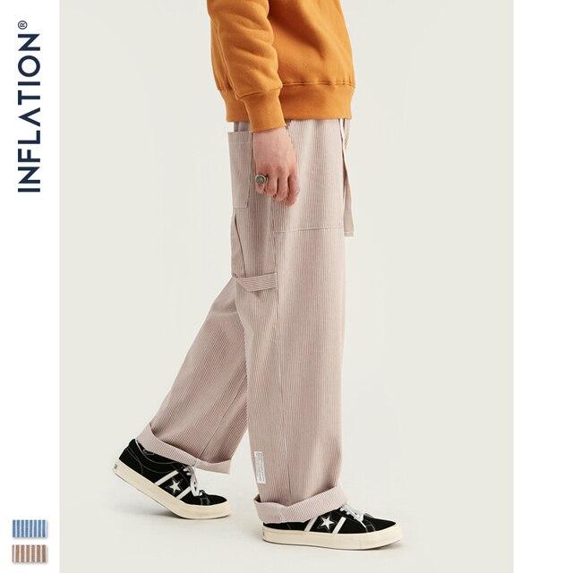 Inflatie 2020 Mannen Casual Broek Winter Streetwear Oude Mode Streep Broek Straight Elastische Taille Toevallige Streep Mannen Broek 93421W