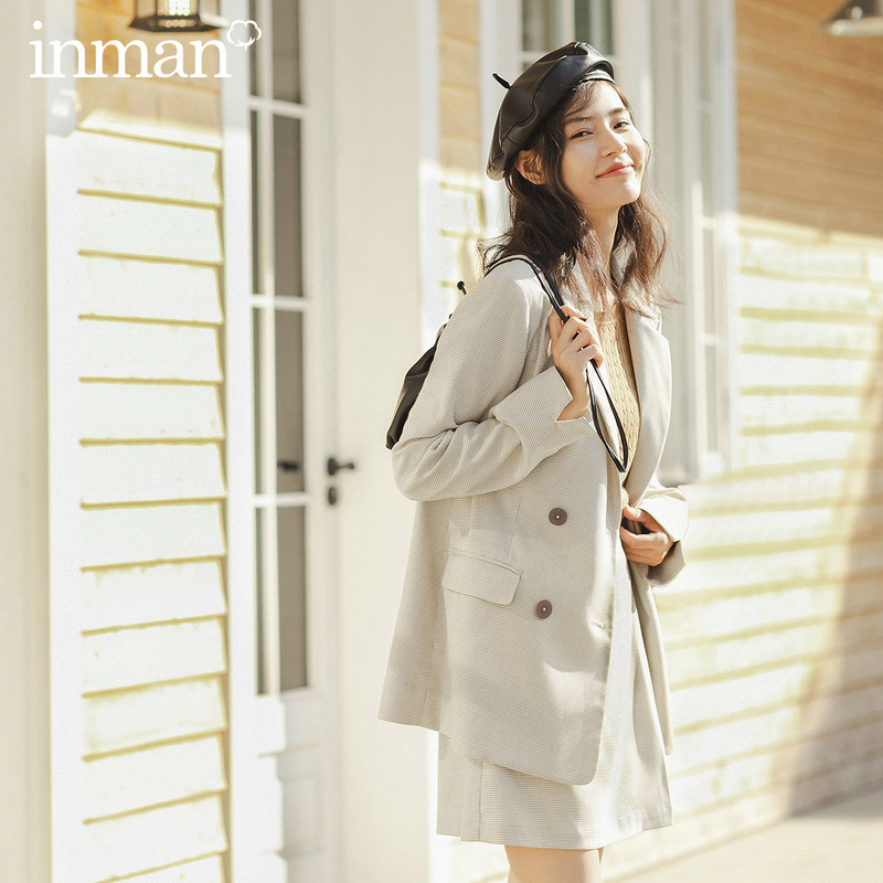 INMAN 2020 Spring New Arrival Literary Commuting Lapel Double-breasted A-line Pleated Skirt Women Suit