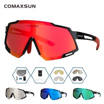 Comaxsun profissional polarizado 5 len ciclismo óculos mtb bicicleta de estrada do esporte espelho óculos de sol da bicicleta uv400 1