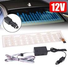 цена на MAYITR Car-styling Blue Car Sticker Atmosphere Music Rhythm LED Flash Light Lamp Sound Activated Equalizer 12V 45x11CM
