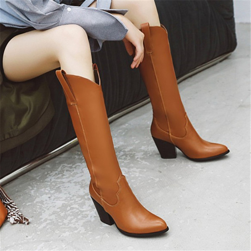 Women Real Leather Retro Block Heels High Boots Riding Knight Casual Shoes Furry