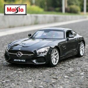 Maisto 1:18 Модель автомобиля Mercedes-Benz SLS AMG, черная модель автомобиля из сплава, коллекция украшений для автомобиля, Подарочная игрушка, модель ли...