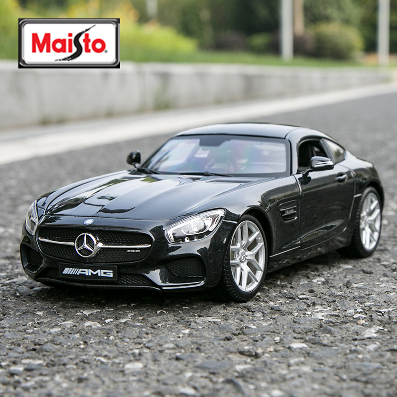 Maisto 1:18 Mercedes-Benz SLS AMG Black Car Alloy Car Model Simulation Car Decoration Collection Gift Toy Die Casting Model