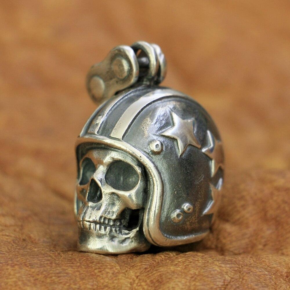 LINSION Motorcycle Helmet Skull Pendant 925 Sterling Silver Mens Biker Pendant TA19