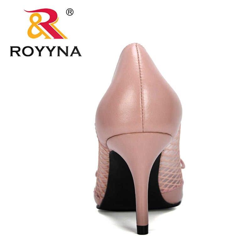 Royyna 2020 Mới Nhà Thiết Kế Lưới Dép Nữ Mũi Nhọn Cao Gót Nhọn Gót Bơm Nữ Tính Mujer Dép Giày Thoải Mái Giày