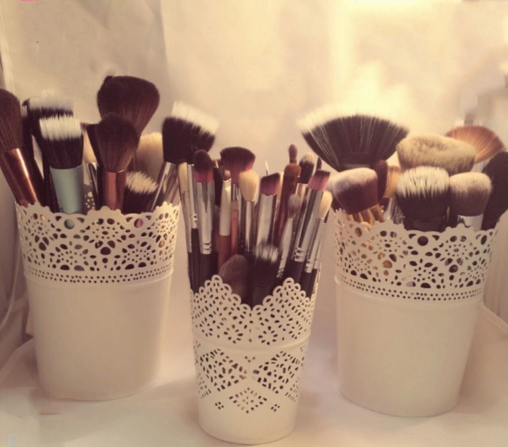Lace Plant Flower Vase Pot Pen Makeup Brush Storage Holder Case Pencil Cup Stationery Container Home Decoration Fast Shipping