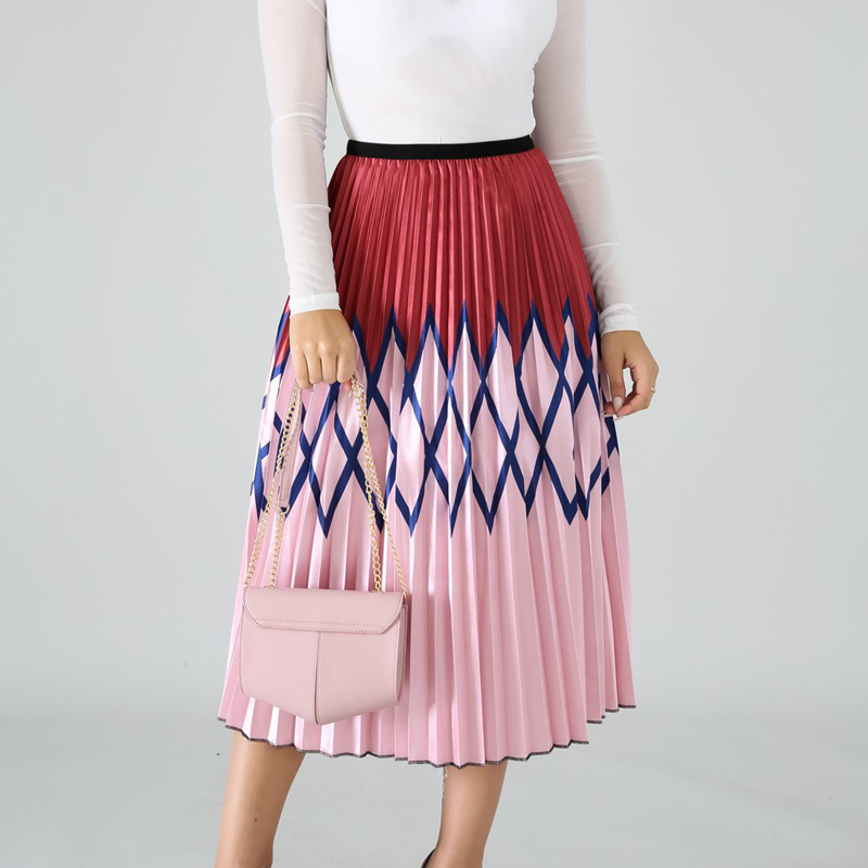 Summer new women 39 s colorful print skirt big swing pleated skirt urban casual pleated cake skirt in Skirts from Women 39 s Clothing