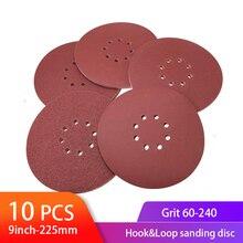 10 stücke Schleifen Schleif Discs 9inch 225mm 8 Loch Haken und Klettschleifscheiben Aluminium Oxid Sand Papier für Trockenbau Finishing