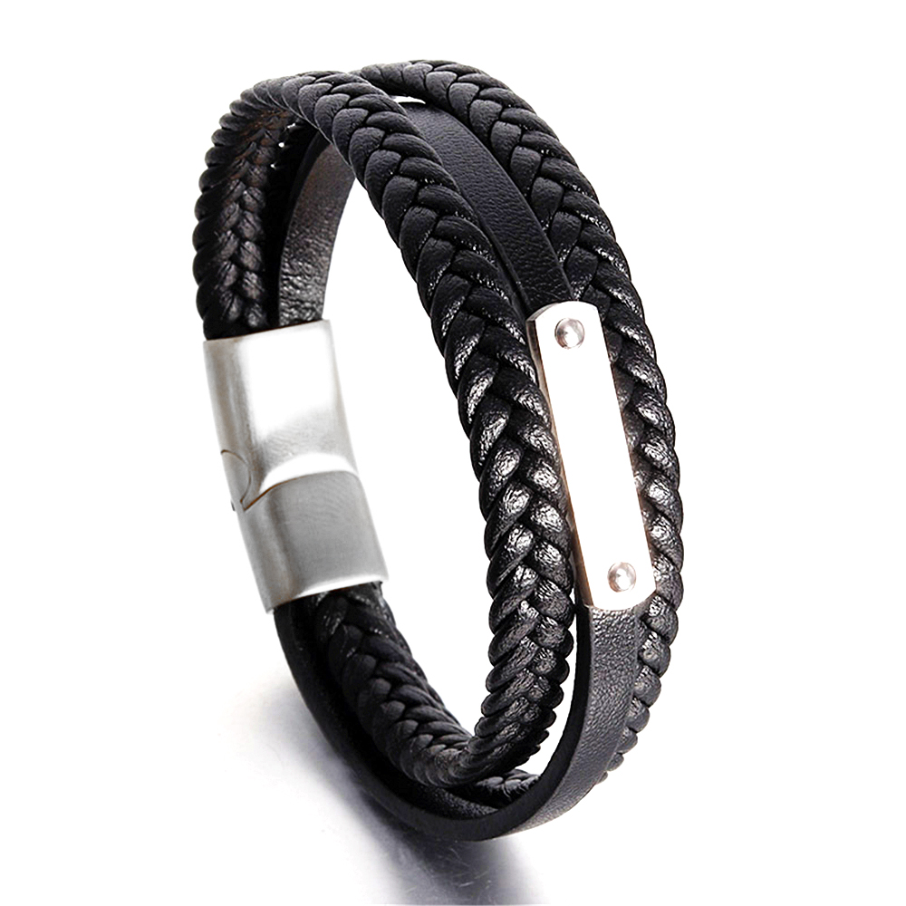 2018 New Fashion Charm Jewelry 19/21/23cm Wholesale Punk Cool Men Genuine Leather Bracelets For Male Christmas Gifts