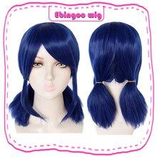 цена на Ebingoo Short Straight Wig Royal Blue Synthetic Wigs with Side Bangs Fringe for Women Girls+Cap