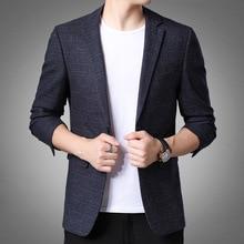Plaid Blazer Jackets Costume Men Suit Business Long-Sleeve Print Male Casual Fashion