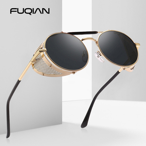 FUQIAN 2020 Retro Steampunk Sunglasses Men Classic Round Metal Women Sun Glasses Vintage Travel Shades Eyewear UV400