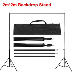 Photography 2m*2m Backdrop Support Stand Metal Tripod 6.5ft*6.5ft Background Holder Adjustable Height with Carrying Bag