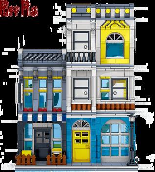 1278Pcs Street Series Building Blocks City Mini Street Scene Coffee Shop DIY Bricks 3D Model Children's Educational Toys
