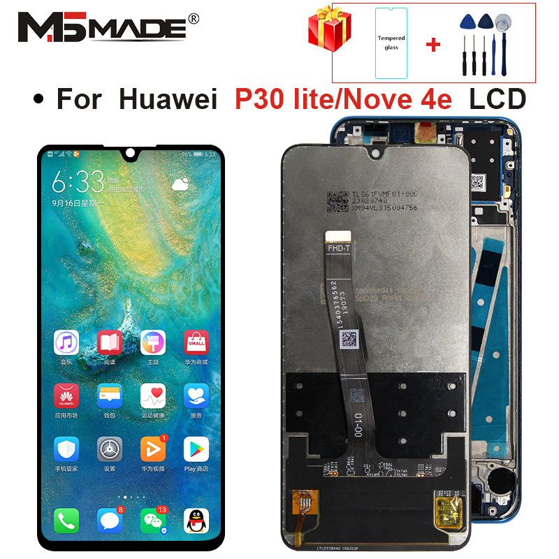 2312*1080 Original <font><b>LCD</b></font> With Frame For HUAWEI <font><b>P30</b></font> Lite <font><b>LCD</b></font> Display Screen For HUAWEI <font><b>P30</b></font> Lite Screen Nova 4e MAR-LX1 LX2 AL01 image