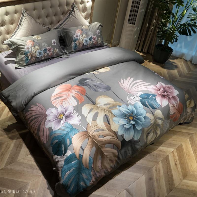 Vintage Leaves Floral printed Luxury Egyptian Cotton Bedding Set Queen King size 4Pcs Bed sheet Duvet cover set Pillow shams