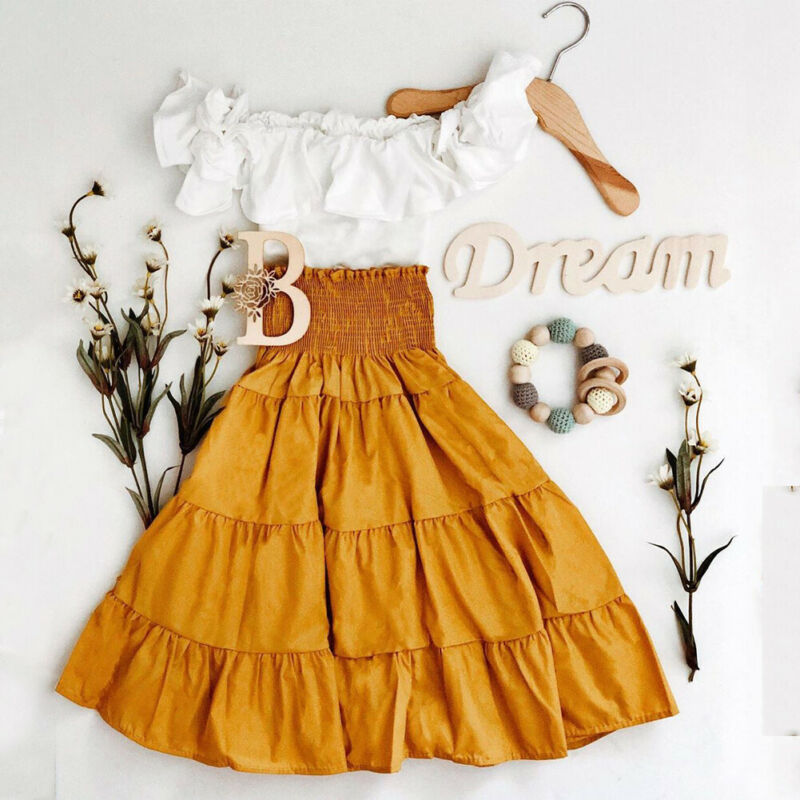 Baby Kids Girl Clothes Off Shoulder Tops Shirt + Long Ruffle Dress Outfit Set