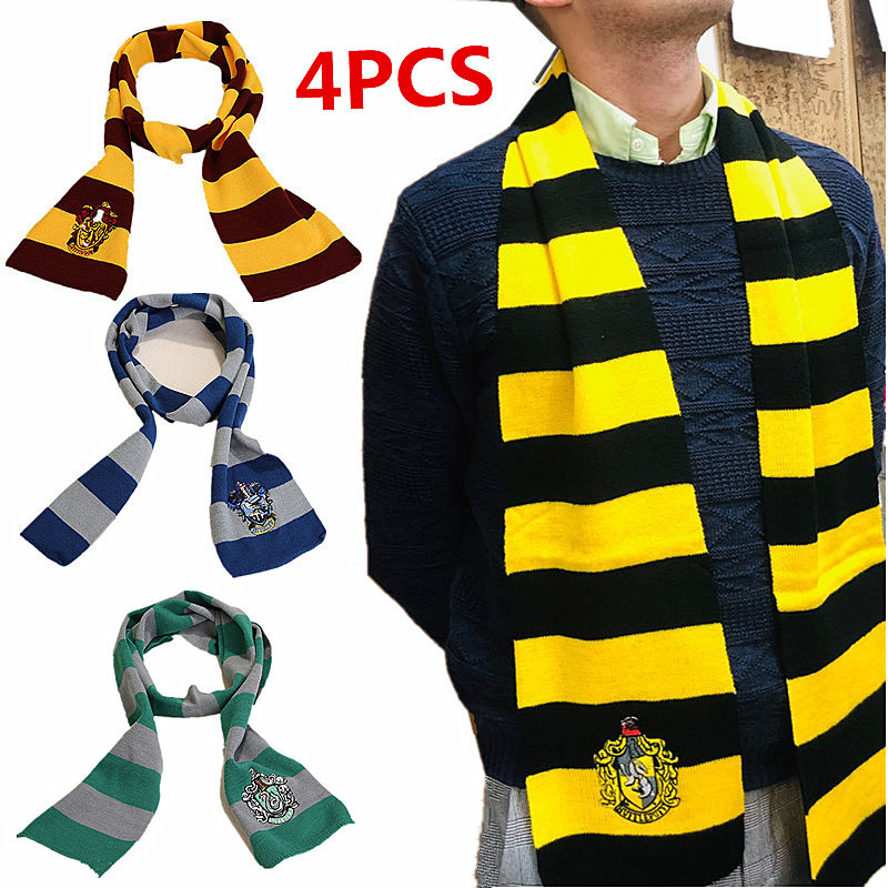 4Pcs Adults&childrenGryffindor/Slytherin/Hufflepuff/Ravenclaw Scarf Tie Hat / Glove Movie CosplayHalloween Party Birthday Gift