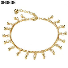 SHDEDE Ankle Bracelet Stainless Steel Leg Foot Chain Anklets For Women Small Bell Accessories Fashion Jewelry Gift +O737 shdede blue 8