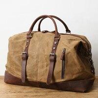 Waterproof Canvas Leather Duffle Bag Durable Waxed Canvas Travel Bag Large Capacity Weekender Bag