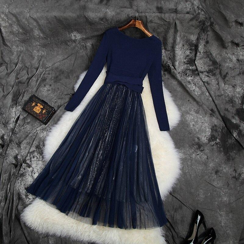Nuovo 2019 autunno inverno maglia della rappezzatura della maglia del vestito a maniche lunghe fit e flare midi abiti nero blu