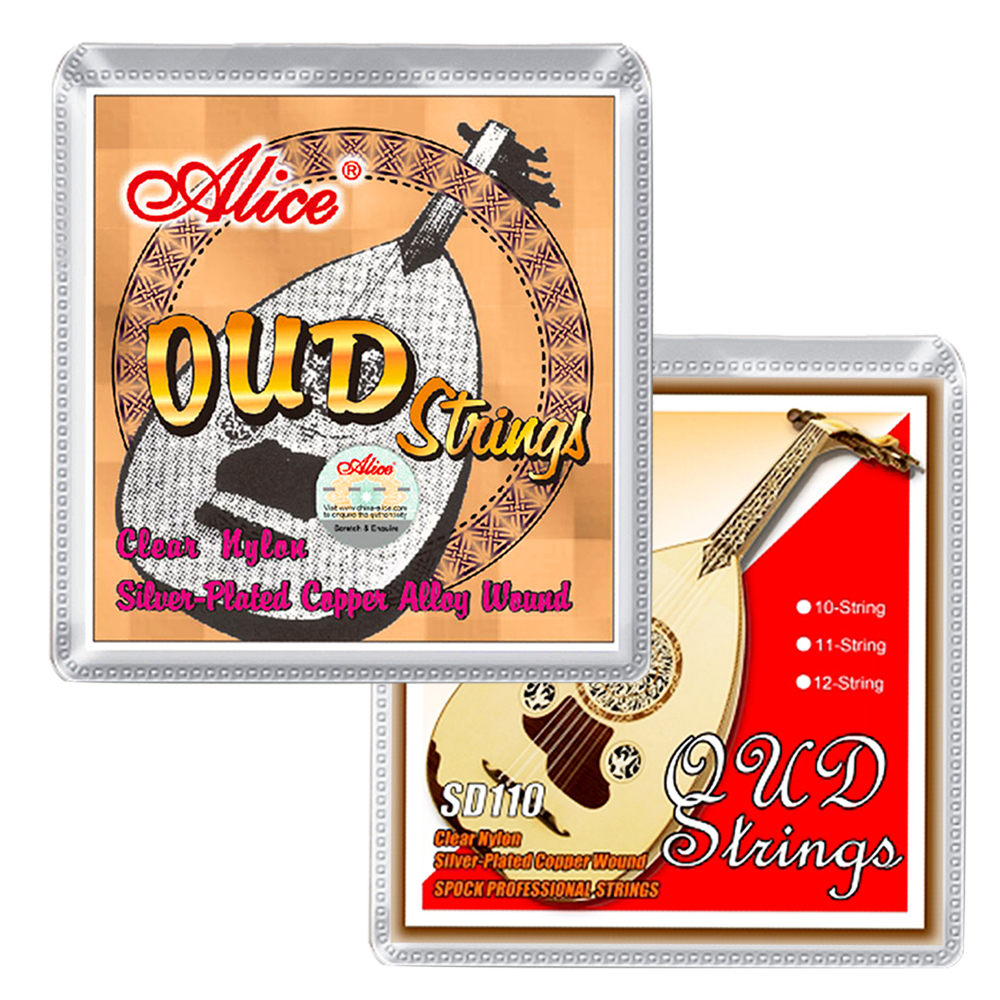 Alice OUD Strings For 12-String Oud Clear Nylon Silver Plated Copper Alloy Wound