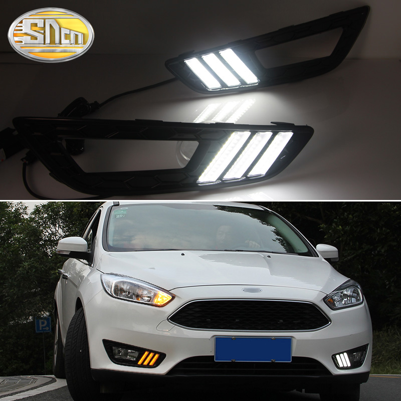 2PCS LED Daytime Running Light For <font><b>Ford</b></font> <font><b>Focus</b></font> 3 MK3 2015 2016 <font><b>2017</b></font> 2018 Yellow Turn Signal Function Waterproof 12V Car DRL Lamp image