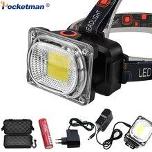Lampe frontale COB LED Super puissante, étanche, lampe frontale alimentée par piles 18650 rechargeables DC