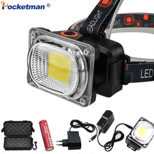 Super Powerful COB LED Headlamp DC Rechargeable Headlight Waterproof Head Lamp Powerful Head Light Head Torch Use 18650 Battery