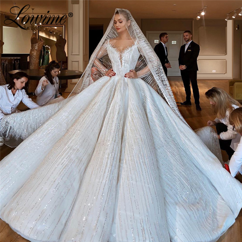 Luxury Arabic Muslim Wedding Dresses 2020 Couture Long Sleeves Sparkly A Line Long Bridal Gowns Turkish Wedding Gowns Vestidos