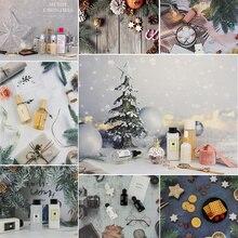 Árvore de natal 3d neve lâmpada imagem ins estilo 57*42 cm fotografia fundo para alimentos cosméticos câmera foto adereços
