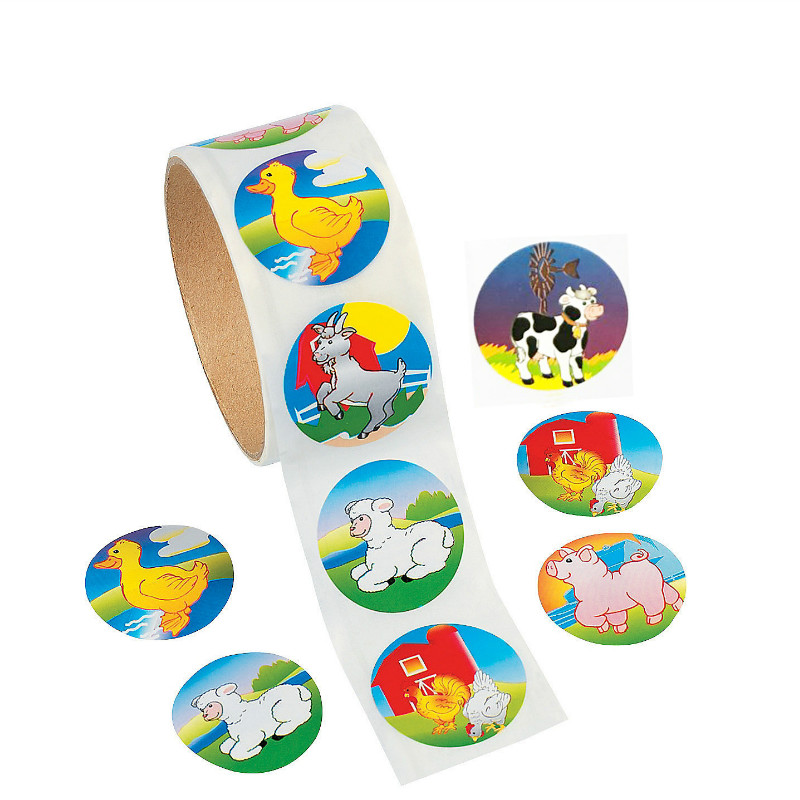 One Roll Creative Adhesive Tape 100pcs Cartoon Animal Sticker For Kids Birthday Gift Colorful Stationery Sticker Toy