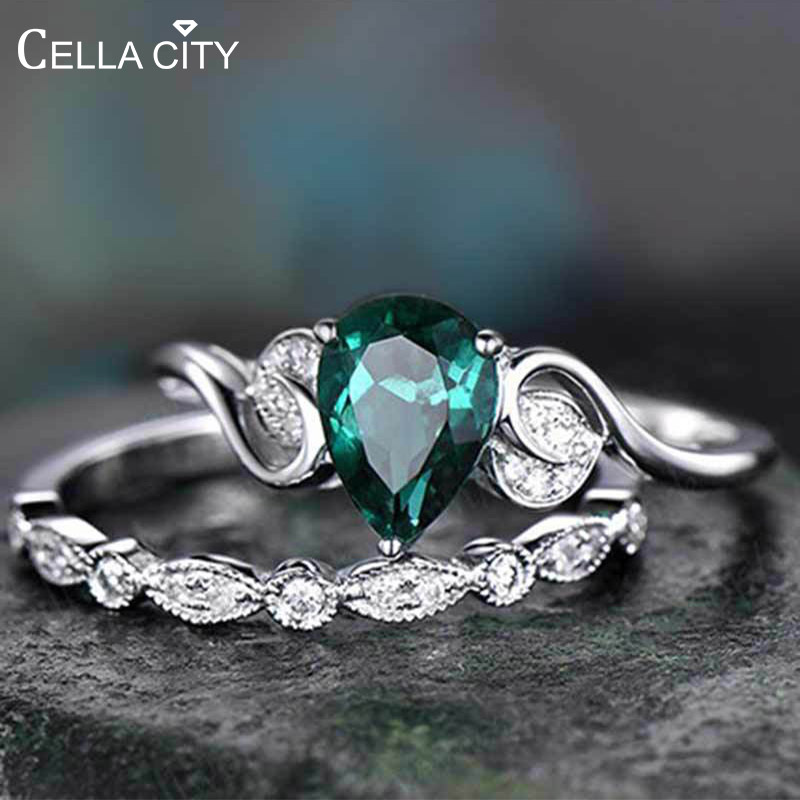 Cellacity 925 Silver Ring For Women Double Rings Set 2pcs/Lot With 6*8MM Water Drop Emerald  Gemstones Engagement Fine Jewerly