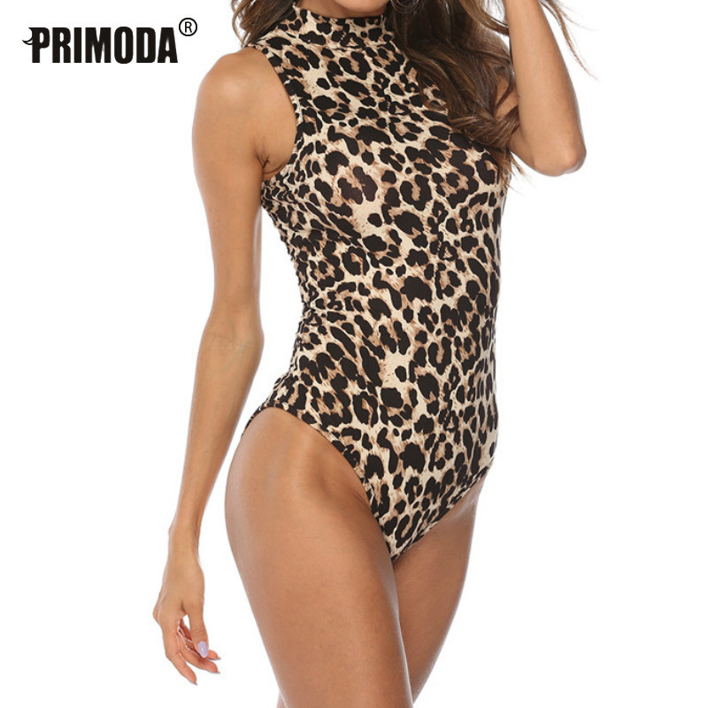Sexy Women Bodycon Snake Leopard Bodysuits 2020 Spring Printed Rompers Outfits Club Lady Skinny Body Suits Turtleneck PR1252G