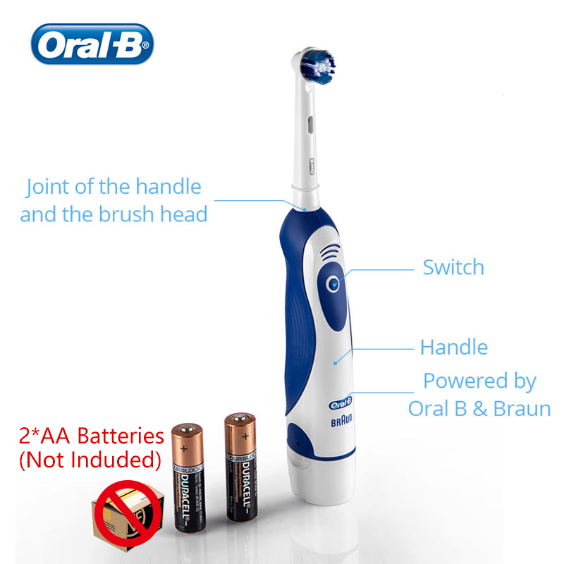 Oral B 4010 Electric Toothbrush 7600 times/Min Rotating Precision Clean Battery Powered 4 Pcs Replaceable Brush Heads Travel Box