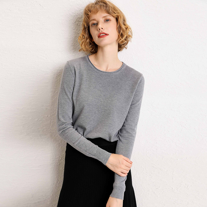 Sweater Female Jersey Knitted Long Sleeves Solid Pullovers Stretch Fall Winter Basicshirt Short Round Neck New Women's Sweaters