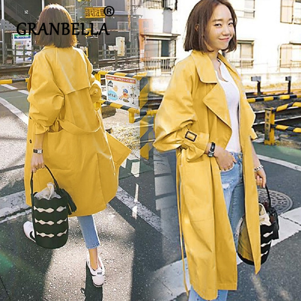 Spring Autumn New Women's Trench Coat Belt Loose WindbreakerLong  Overcoat Clothes Big Size Yellow Big Pockets