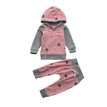 Cute Baby Girl Clothes New Hot Sale Infant Long Sleeve Deer Print Hoodie Tops+Pants 2pcs Outfits Toddler bebes